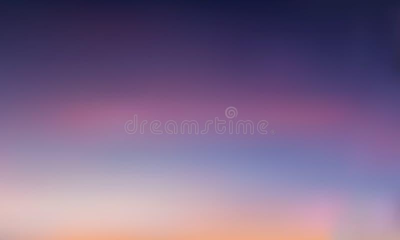 Vectorgradiënt vage achtergrond Natuurlijke kleur Purpere hemel stock illustratie