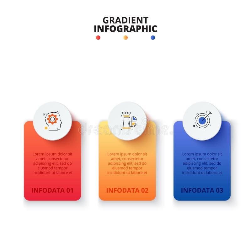 Vectorgradiëntbanners met cirkels Bedrijfsmalplaatje voor presentatie Creatief concept voor infographic met 3 stappen stock illustratie