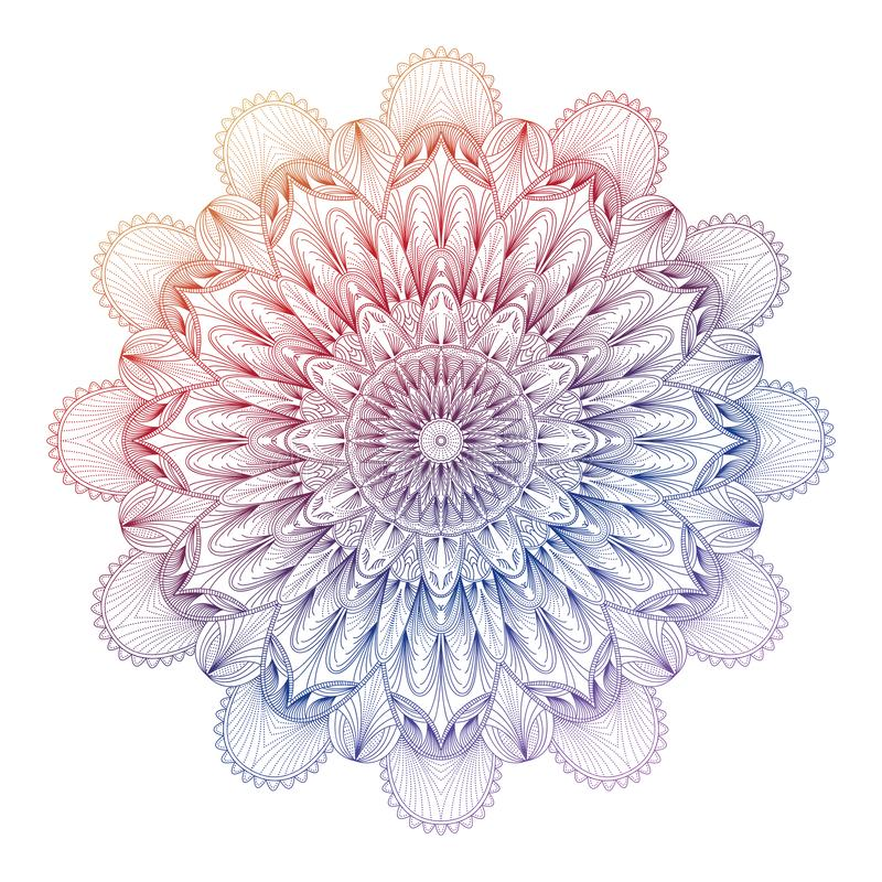 Vectorgradiëntmandala Kleurrijke gradiëntmandala stock illustratie