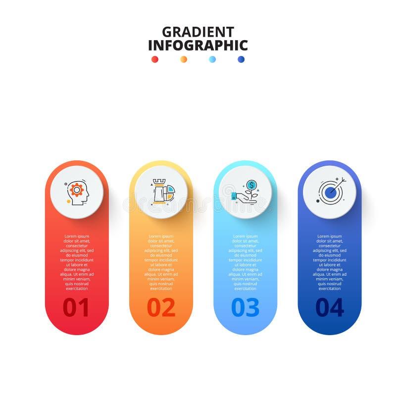 Vectorgradi?ntbanners met cirkels Bedrijfsmalplaatje voor presentatie Creatief concept voor infographic met 4 stappen royalty-vrije illustratie