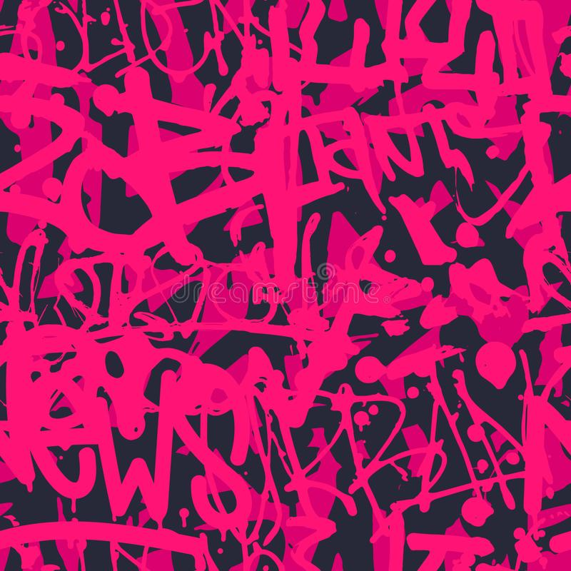 Vectorgraffiti naadloos patroon met abstract kleurrijk helder t stock illustratie