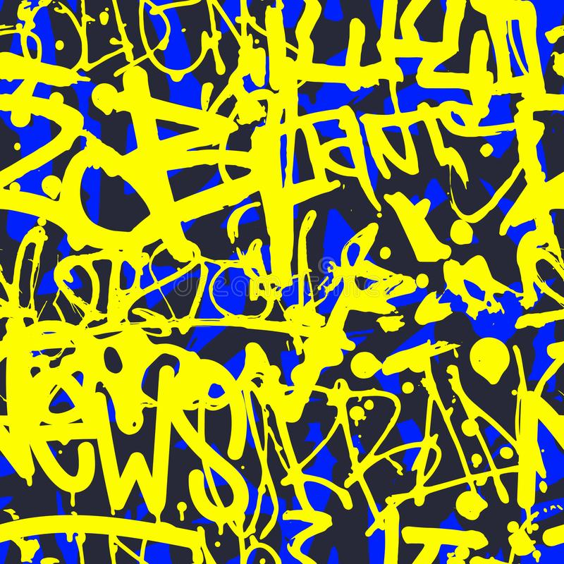 Vectorgraffiti naadloos patroon met abstract kleurrijk helder t stock illustratie