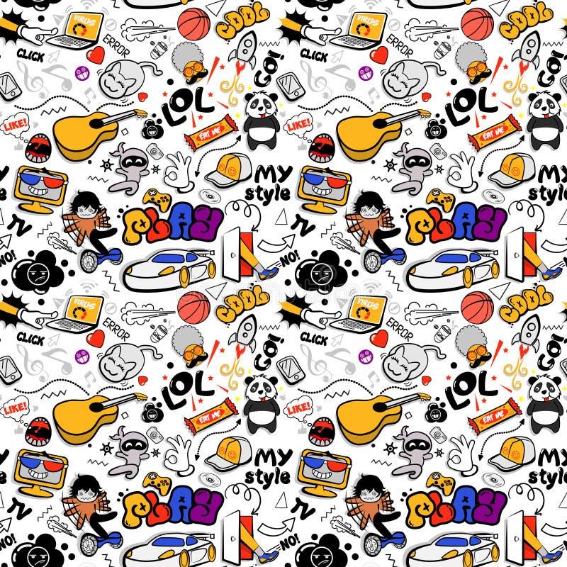 Vectorgraffiti naadloze textuur met bizarre elementen en karakters met sociale media tekens en andere glanzende pictogrammen royalty-vrije illustratie