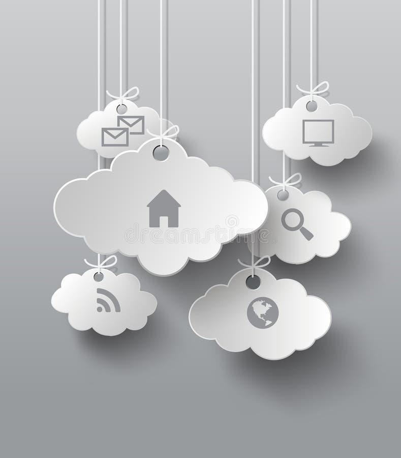 Vectorgrafiek met wolk van toepassingspictogrammen stock illustratie