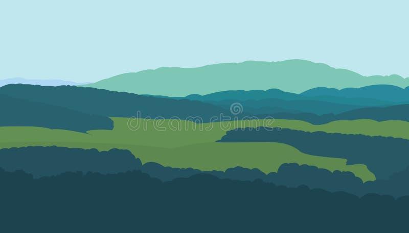 Vectorgrafiekillustratie van een de zomerlandschap Een beeld van de silhouetten van een bos, bomen, bergen en gebieden stock illustratie