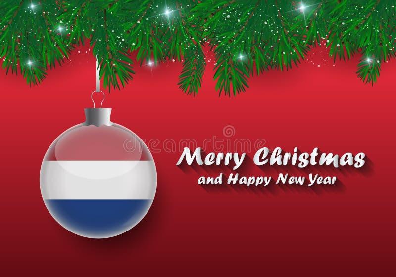 Vectorgrens van Kerstboomtakken en bal met netherlan stock illustratie