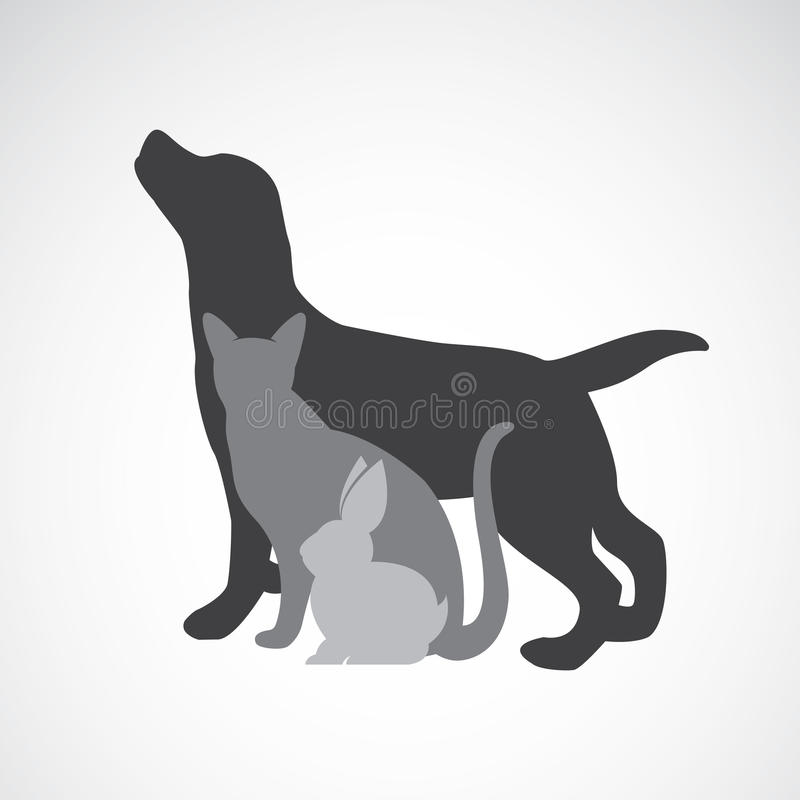 Vectorgroep huisdieren - Hond, kat, konijn royalty-vrije illustratie