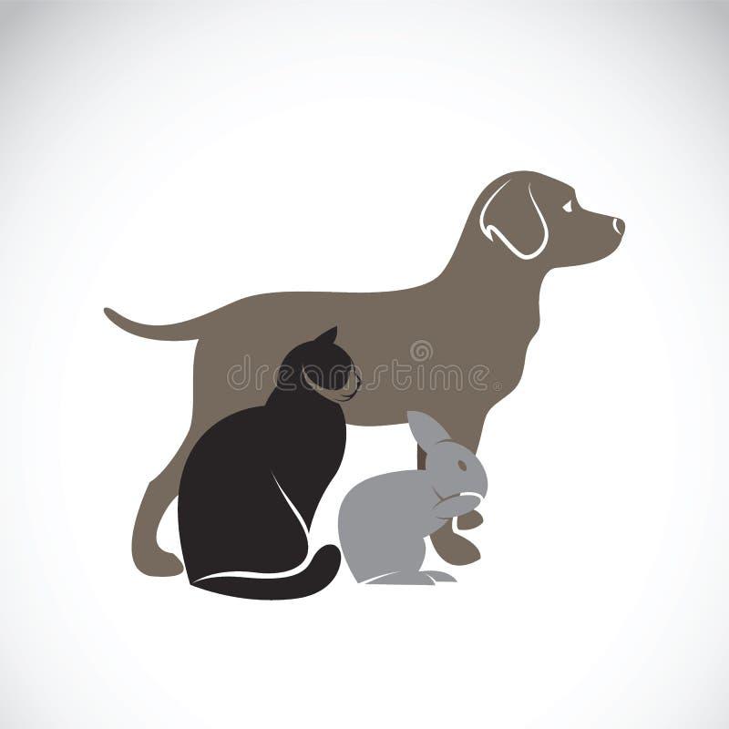 Vectorgroep huisdieren - Hond, kat, konijn stock illustratie