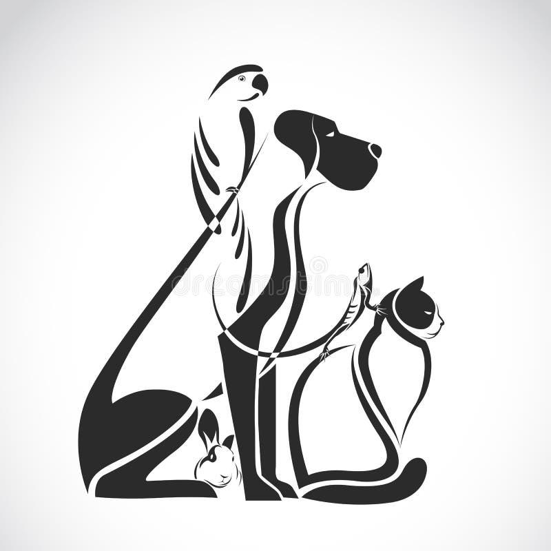 Vectorgroep huisdieren - Hond, kat, vogel, reptiel, konijn, royalty-vrije illustratie