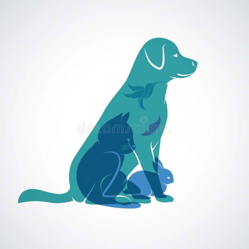 Vectorgroep huisdieren - Hond, kat, vogel, vlinder, konijn stock illustratie