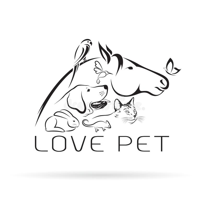 Vectorgroep huisdieren - Paard, hond, kat, vogel, vlinder stock illustratie