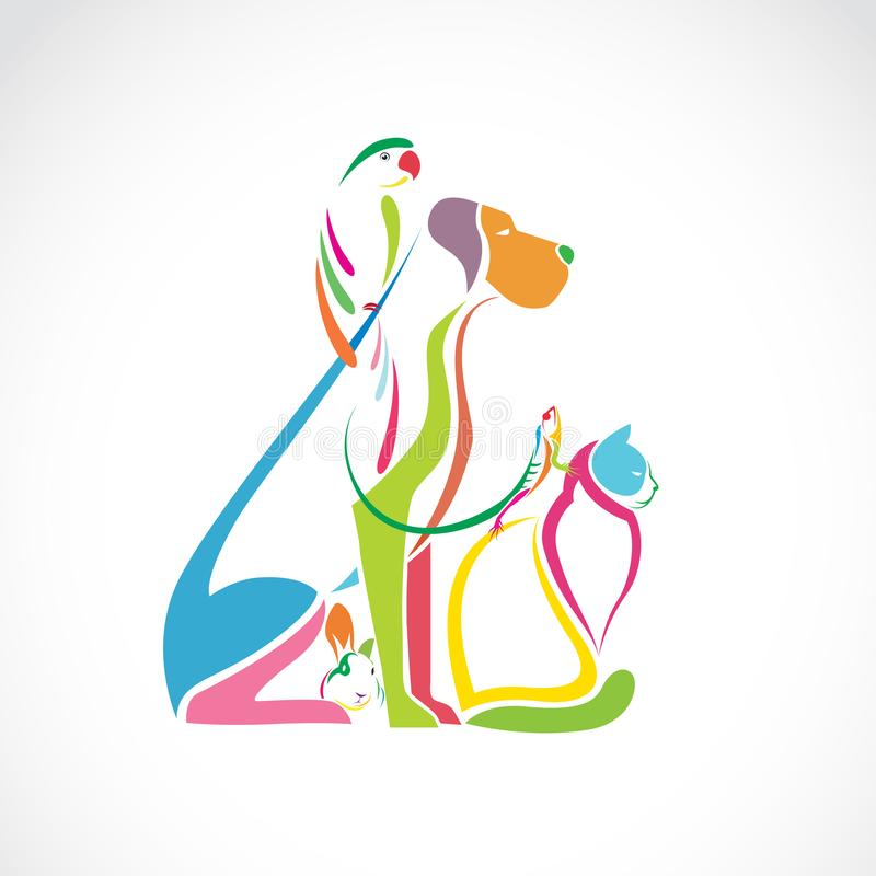 Vectorgroep kleurrijke huisdieren - Hond, kat, vogel, kameleon, vector illustratie