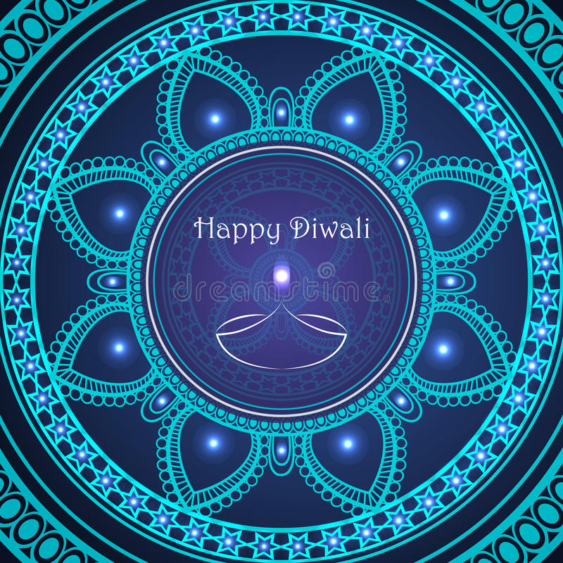 Vectorgroetkaart aan Indisch festival van lichten Gelukkige Diwali royalty-vrije illustratie