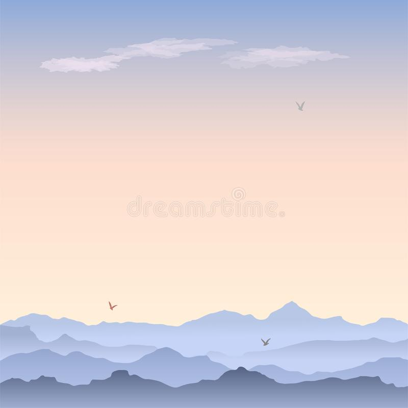 Vectorgroetkaart met berglandschap stock illustratie