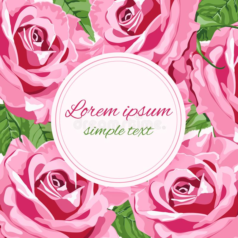 Vectorgroetkaart met grote heldere roze rozen vector illustratie