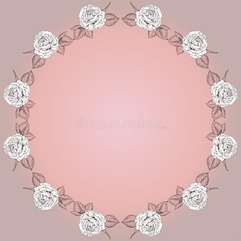 Vectorgroetkaart met rond bloemenkader van rozen Zachte in kleur en uitstekende stijl plaats voor uw inschrijving royalty-vrije illustratie