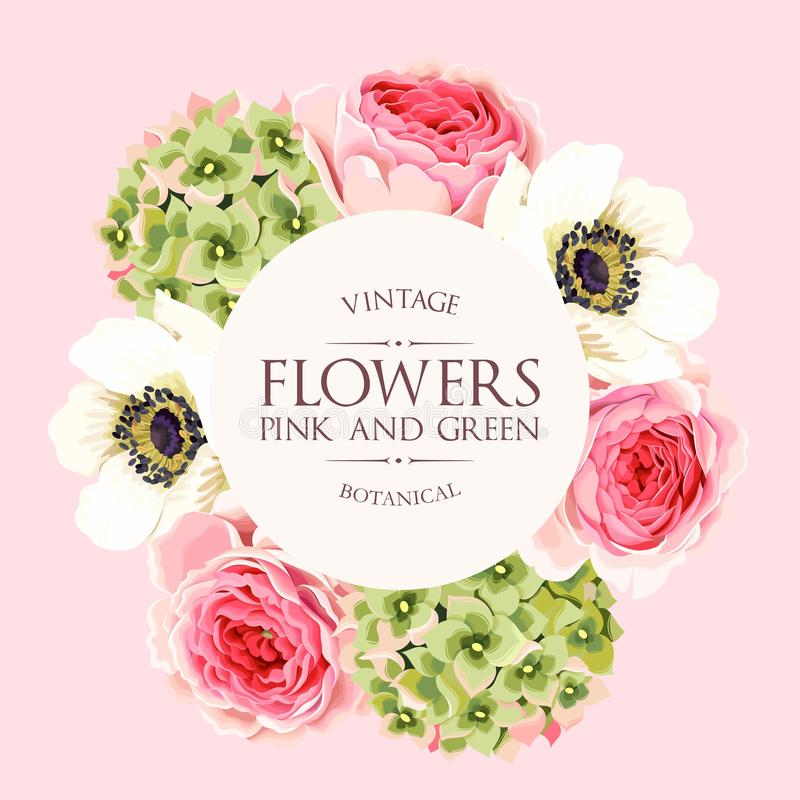 Vectorgroetkaart met rozen en hydrangea hortensia stock illustratie