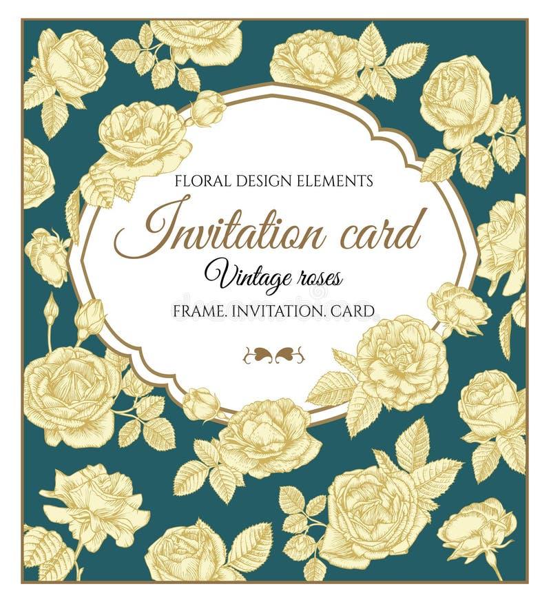 Vectorgroetkaart met rozen in uitstekende stijl stock illustratie