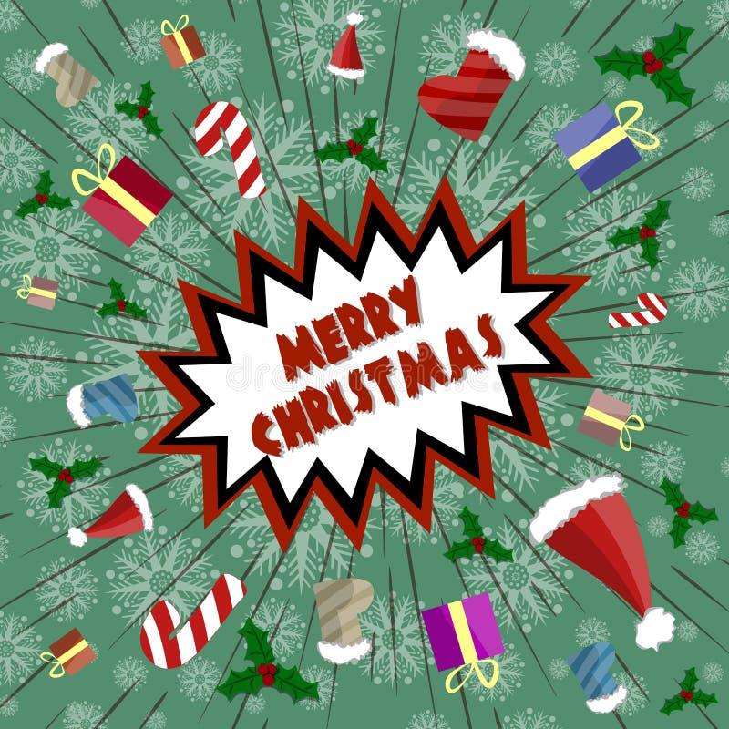 Vectorgroetkaart in retro stijl Vakantieexplosie van pret, giften, suikergoed, Santa Claus-kappen stock fotografie