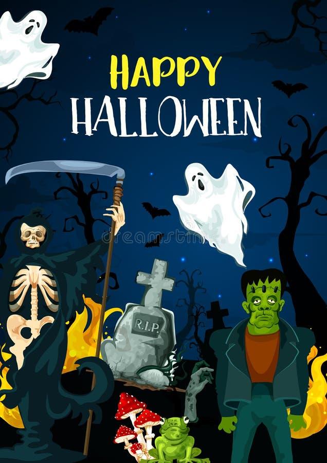 Vectorgroetkaart voor Gelukkig Halloween royalty-vrije illustratie