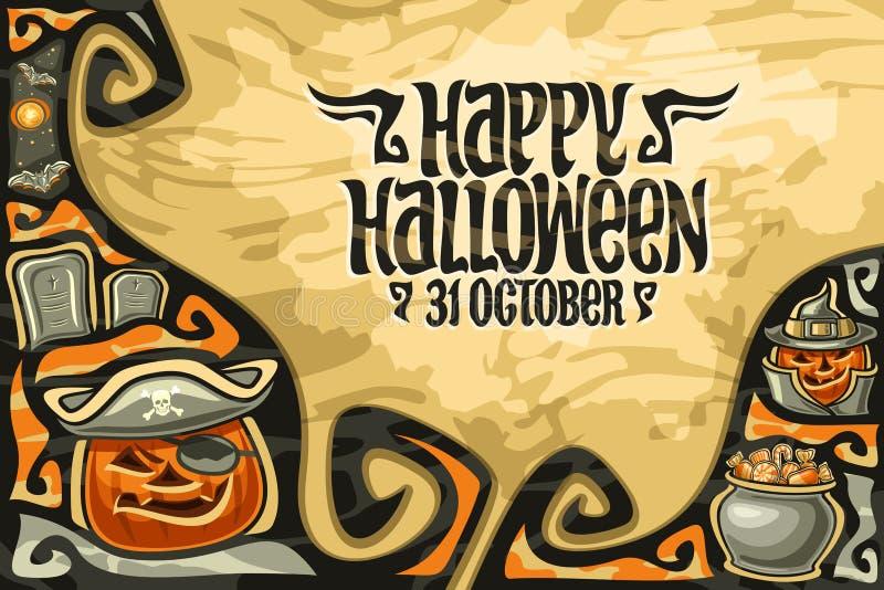 Vectorgroetkaart voor Halloween vector illustratie