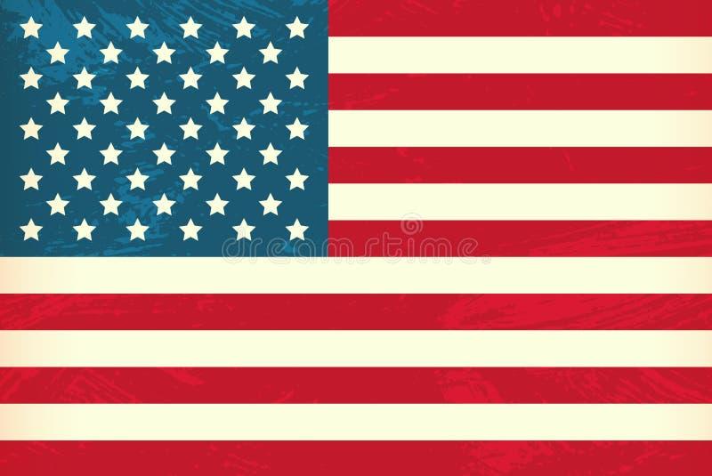 Vectorgrunge gestileerde vlag van de V.S. vector illustratie