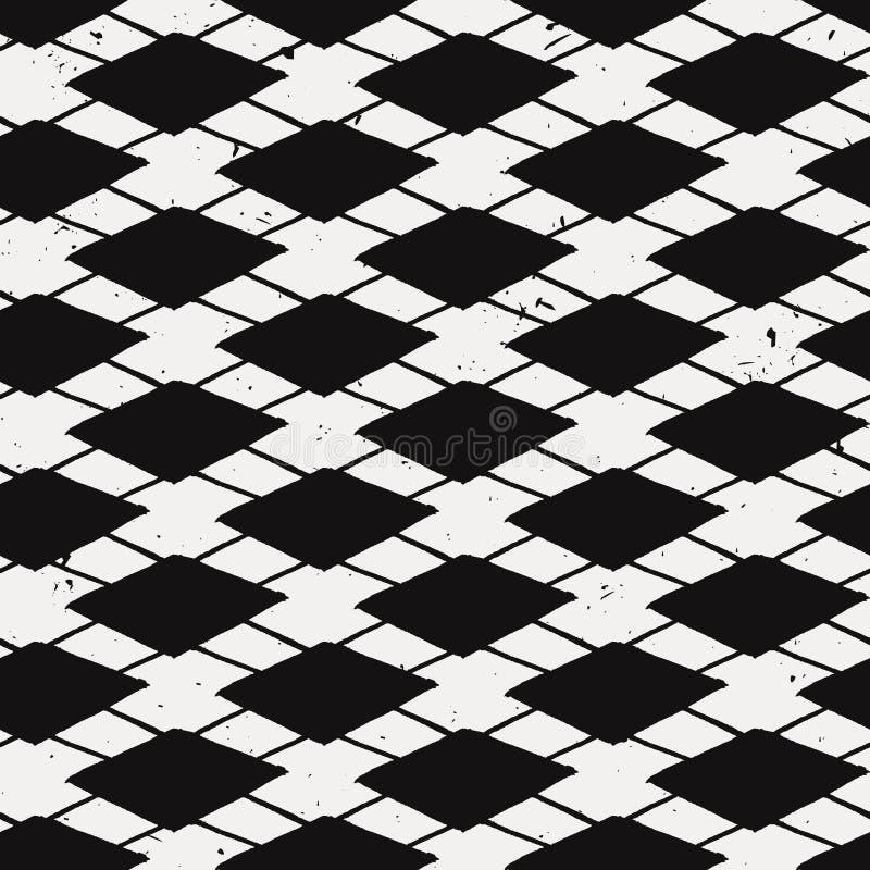 Vectorgrunge naadloos patroon met diamanten en lijnen royalty-vrije illustratie