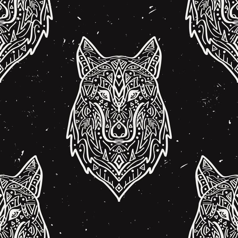 Vectorgrunge zwart-wit naadloos patroon met stammenstijlwolf stock illustratie