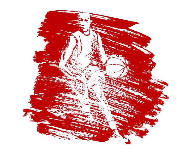 Vectorgrungeachtergrond met basketbalspeler vector illustratie