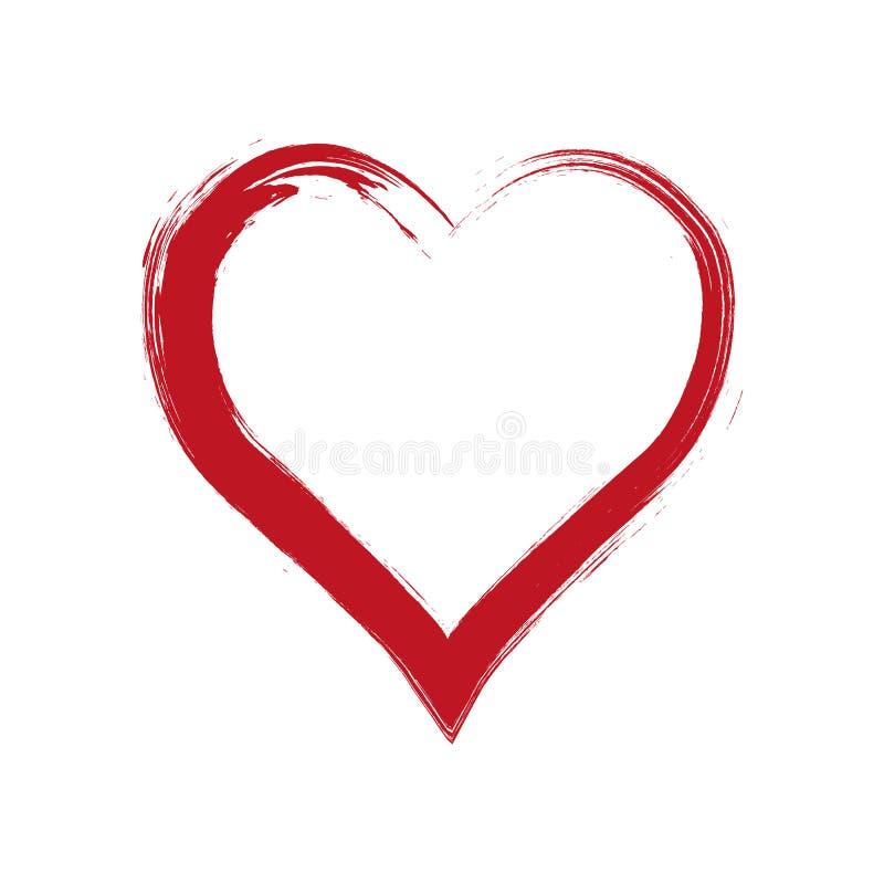 Vectorgrungehart, Valentine-dag, element van het illustratie het uitstekende ontwerp Hand getrokken stijlillustratie met een grun vector illustratie