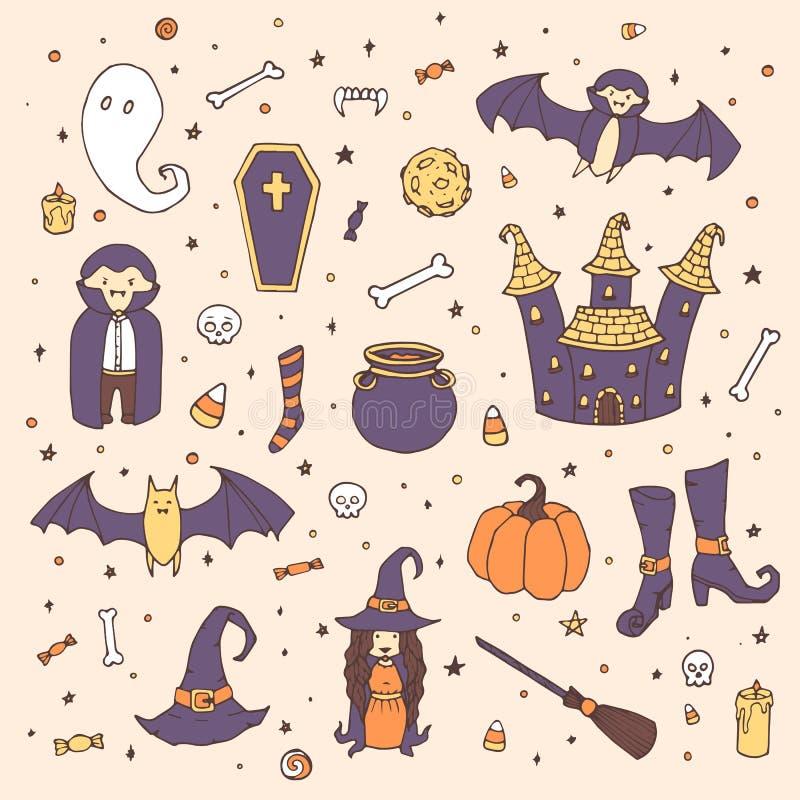 Vectorhalloween plaatste met pompoenen, spoken, vampier, heks, hoed, bezem, ketel, huis, knuppels, beenderen, schedels en suikerg royalty-vrije illustratie