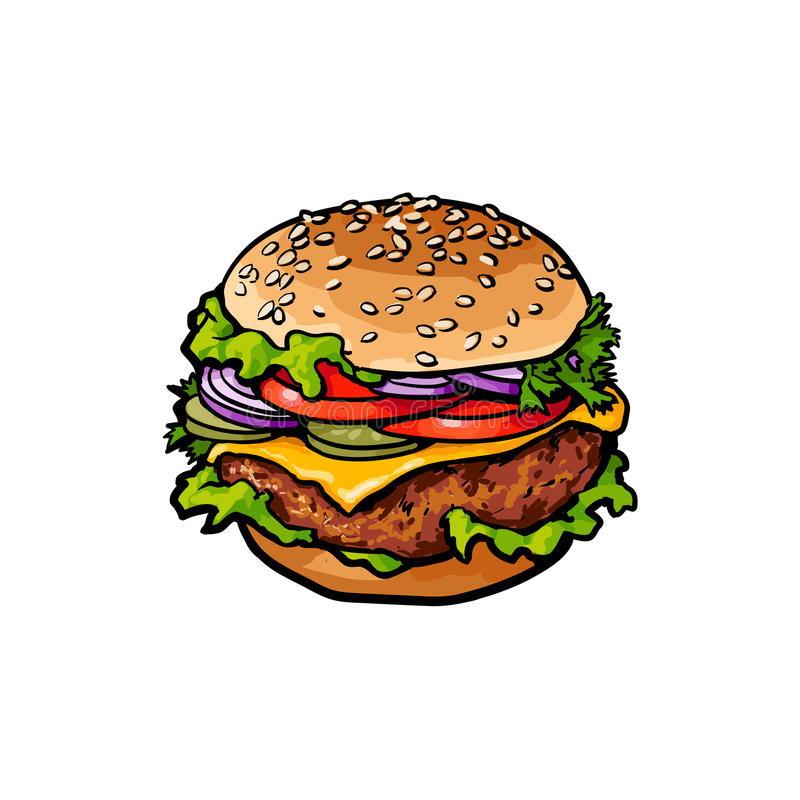 Vectorhamburgerschets geïsoleerde illustratie stock illustratie