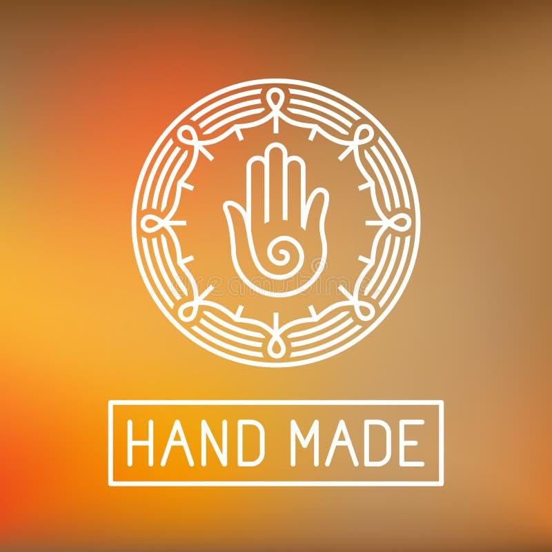 Vectorhand - gemaakt etiket in overzichts in stijl stock illustratie