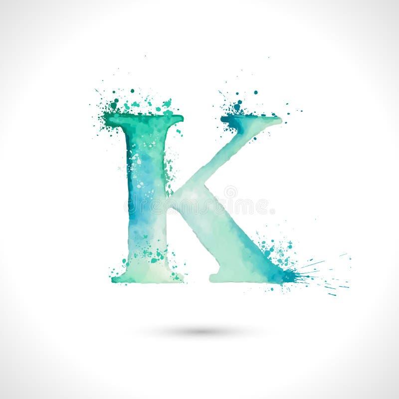 Vectorhand geschilderd waterverfalfabet, het ontwerp van plonselementen, brief K vector illustratie