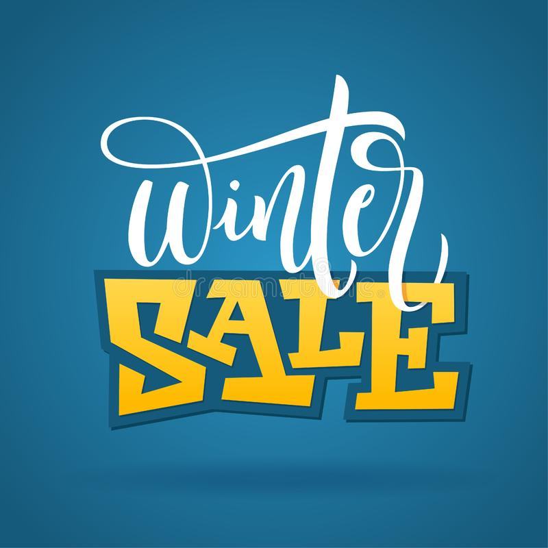 Vectorhand geschreven de winteruitdrukking - de Winterverkoop Typografieaffiche op blauwe achtergrond Vectorillustratie voor bann royalty-vrije illustratie