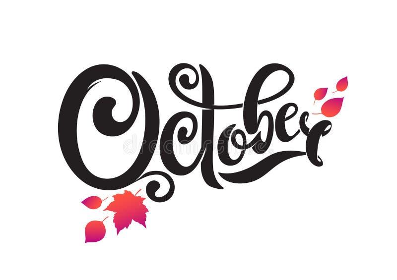 Vectorhand geschreven mooie van letters voorziende tekst Oktober Geïsoleerdj op witte achtergrond Verfraaid met de herfst dalende royalty-vrije illustratie