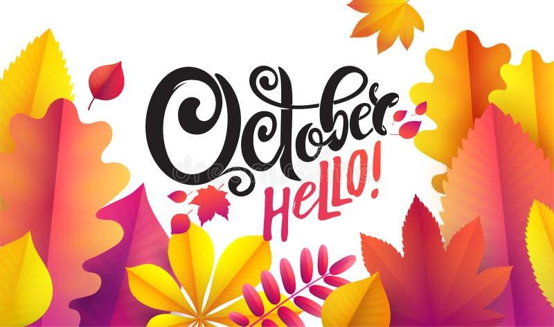 Vectorhand geschreven mooie van letters voorziende tekst Oktober Hello op bladachtergrond Verfraaid met de bladeren van de boeket stock illustratie