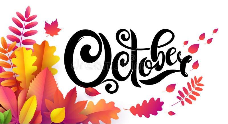 Vectorhand geschreven mooie van letters voorziende tekst Oktober op bladachtergrond Verfraaid met de dalende bladeren van de boek vector illustratie