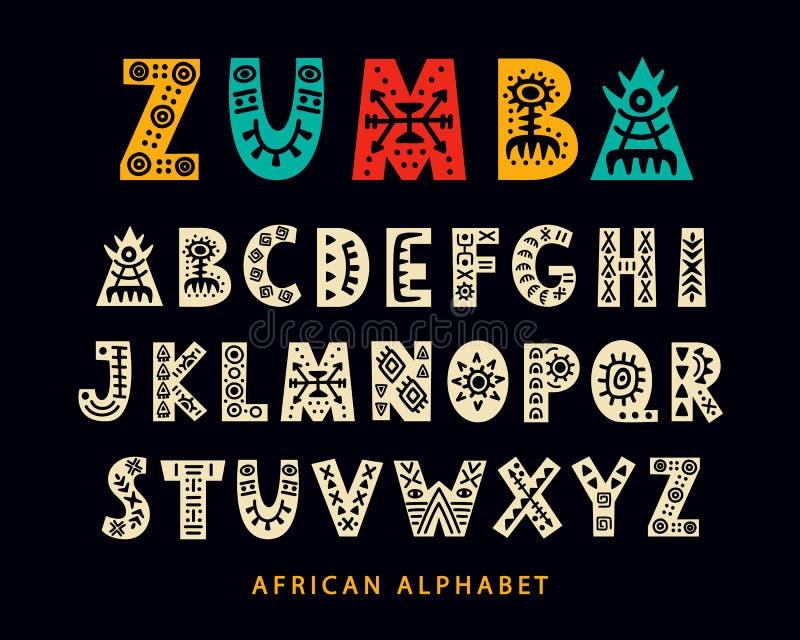Vectorhand getrokken Afrikaanse Stammendoopvont Volks Skandinavisch Manuscript stock illustratie