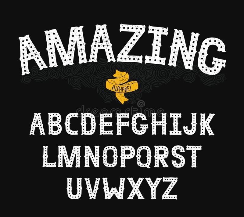 Vectorhand Getrokken Alfabet met Uitstekende brieven vector illustratie