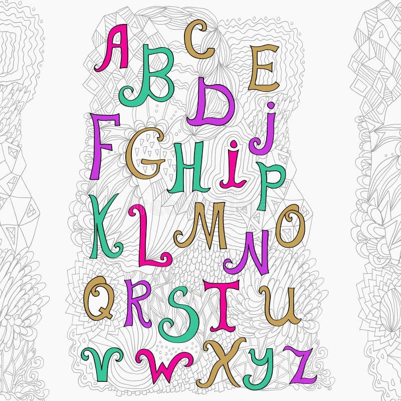 Vectorhand getrokken alfabet op witte achtergrond en leuke krabbelachtergrond vector illustratie