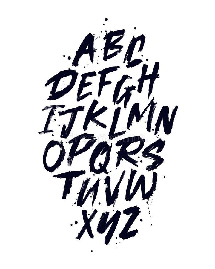 Vectorhand getrokken alfabetdoopvont Borstel geschilderde brieven vector illustratie