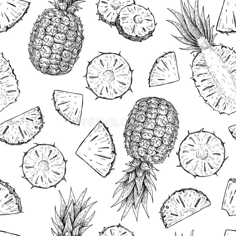 Vectorhand getrokken ananas naadloos patroon vector illustratie