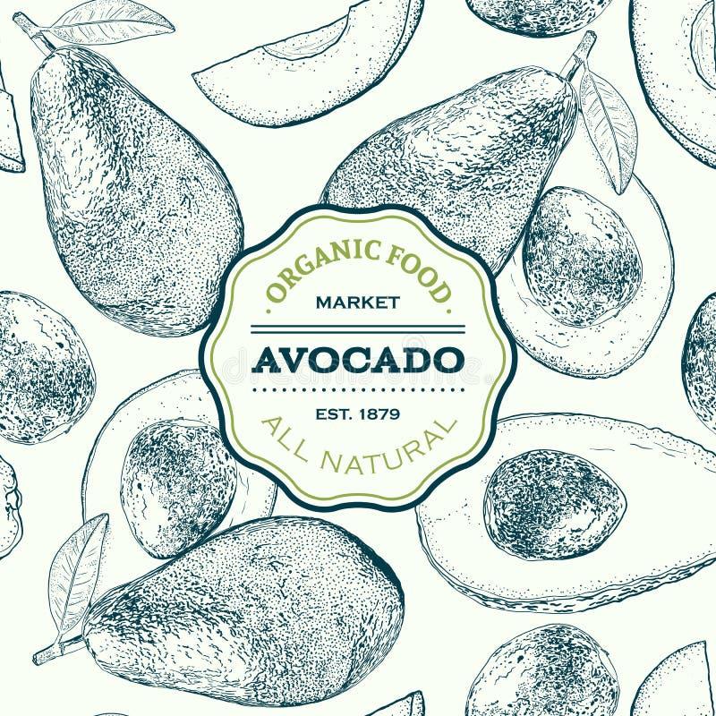 Vectorhand getrokken avocado naadloos patroon Gehele, gesneden stukken, halve, blad en zaadschets Tropisch de zomerfruit stock illustratie
