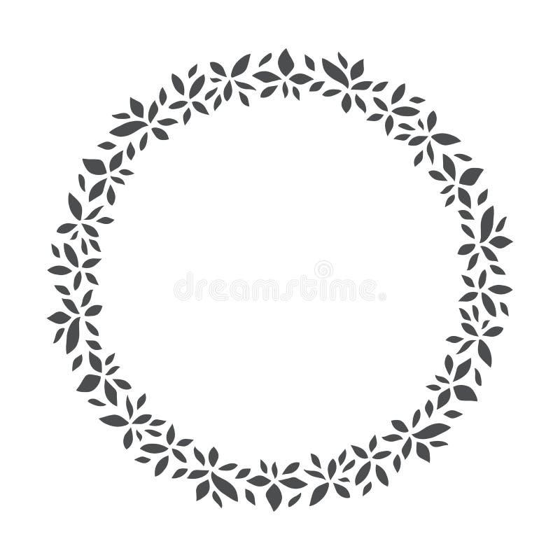 Vectorhand getrokken bloemenkroon, rond kader met bladeren royalty-vrije illustratie