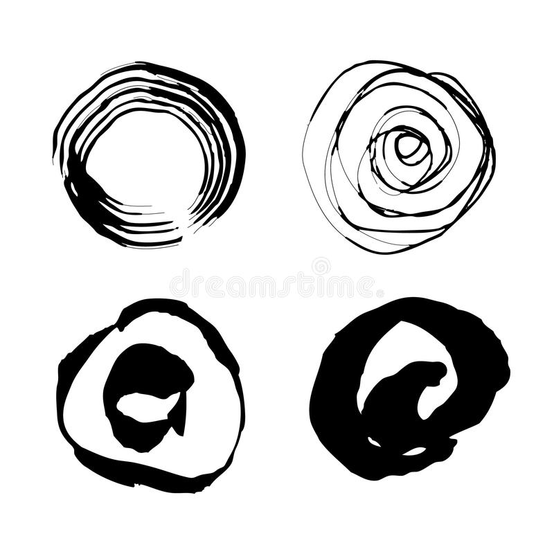 Vectorhand getrokken cirkels Geplaatste de borstelslagen van de Grungeinkt stock illustratie