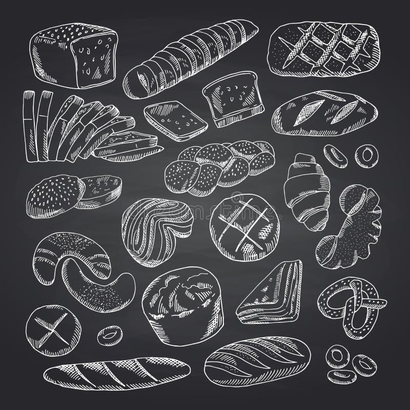 Vectorhand getrokken de contouren aangegeven van bakkerijelementen op zwart bord royalty-vrije illustratie