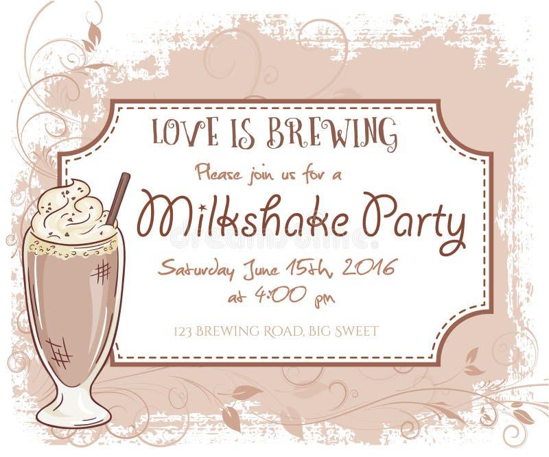 Vectorhand getrokken de uitnodigingskaart van de milkshakepartij, uitstekend kader, glas en bladeren vector illustratie
