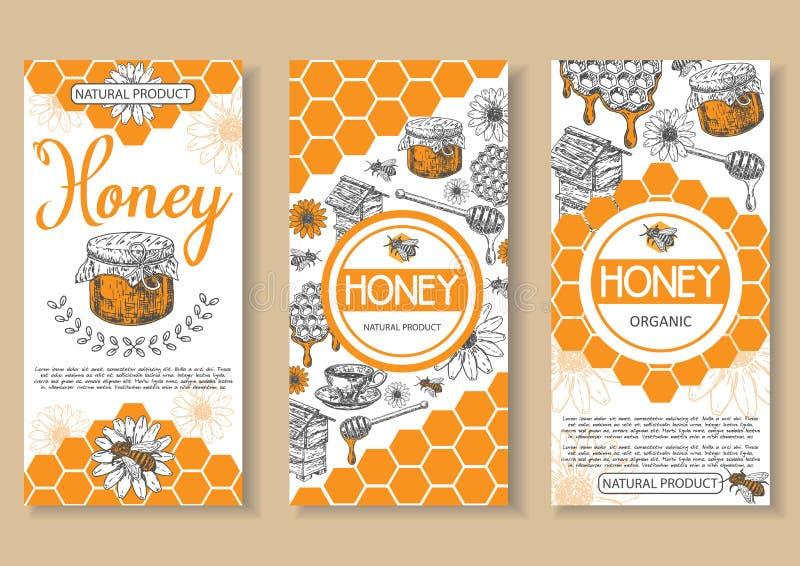Vectorhand getrokken de vliegerreeks van de bijen natuurlijke honing vector illustratie
