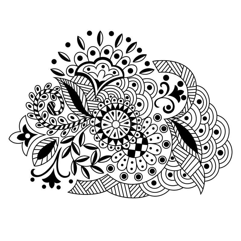 Vectorhand getrokken decoratief bloemenpatroon in de stijl van zent vector illustratie